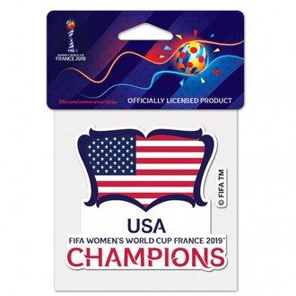 """WinCraft USA Calcomanía de Campeones de la Copa del Mundo 2019 - 4"""" x 4"""""""