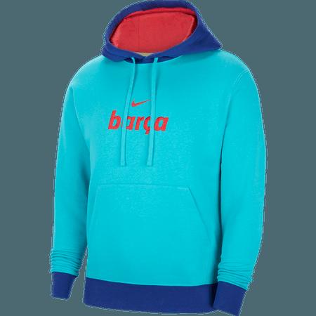 Nike 2021 FC Barcelona Fleece Pullover Men's Hoodie